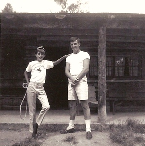 My counselor, Russ and unknown bunkmate at Double D porch -1967