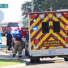KEVIN HARVISON | Staff photo<br /> Emergency responders are on the scene at DayLight Donut on Wade Watts Avenue Wednesday morning.