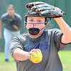 KEVIN HARVISON | Staff photo<br /> A Hartshorne pitcher delivers a pitch during fast pitch action against Holdenville at the McAlester High School Softball Field Friday.