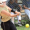 KEVIN HARVISON | Staff photo<br /> A McAlester batter hits the ball during a home scrimmage against Hartshorne Friday.