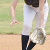 KEVIN HARVISON | Staff photo<br /> A Hartshorne second baseman fields the ball during play against McAlester at the Buffs High School Softball Field Friday.