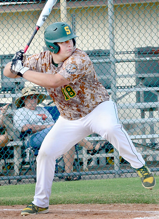 Kevin Harvison | Staff photo<br /> Hunter Whitaker prepares to swing during a recent home win agains Buffalo Valley.