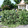 Kevin Harvison | Staff photo<br /> A tree fell on a vehicle early Thursday morning as winds form a storm passing through the area caused damage at 319 North First Street.
