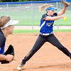 Kevin Harvison | Staff photo<br /> Savanna pitcher Blair Wilson delivers a pitch to a Stuart batter during Pitt 8 fast pitch festival Saturday.