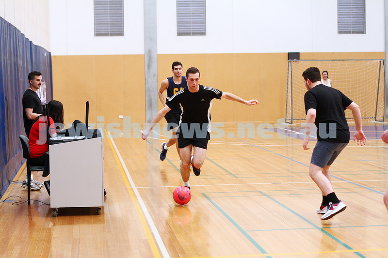 20-9-15. Indoor soccer action from the AUJS sports afternoon held at Bialik College. Photo: Peter Haskin.