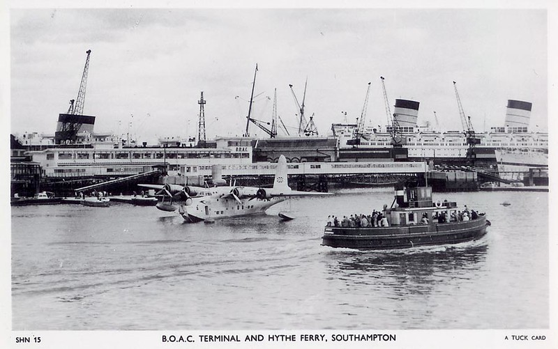 Southampton Docks, flying boat moorings at berth 50.