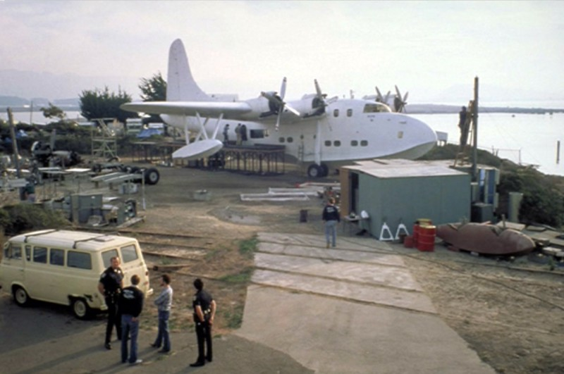 Flying boat used in Indiana Jones which was actually on dry land with only one engine working.