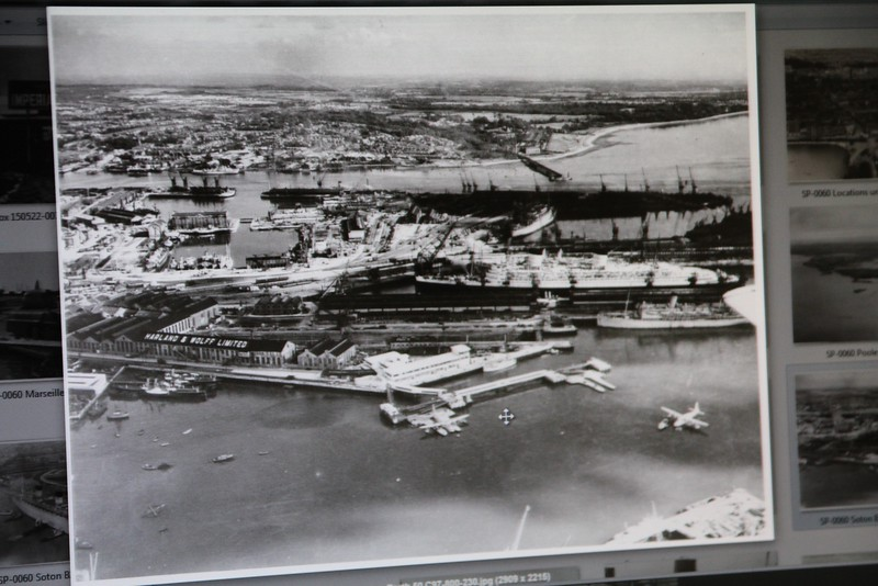 Southampton, one flying plane at berth 50, another out ready for takeoff.