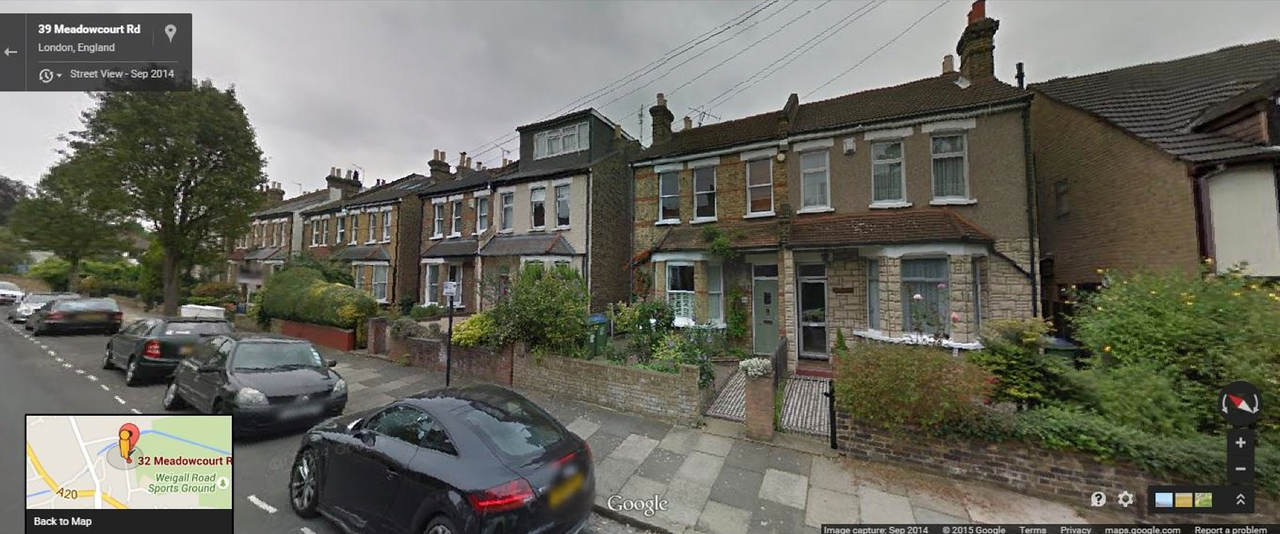 The actual house; a Victorian terrace.