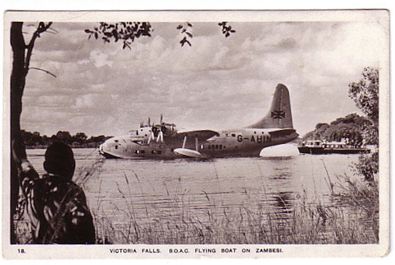 A photograph of flying boat moored upstream of Victoria Falls.