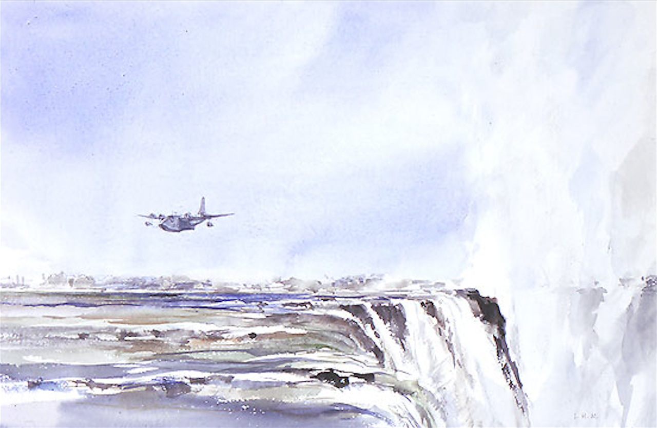 Watercolour of flying boat landing at Victoria Falls, painted in 1947.