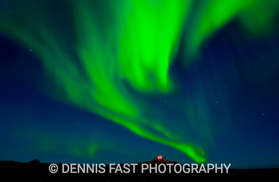 AURORA BOREALIS LANDSCAPE.  In this shot, I lit up the muskox skull with my headlamp for about half the exposure just to make it stand out more. The skull provides a tremendous sense of scale for the sweeping aurora.