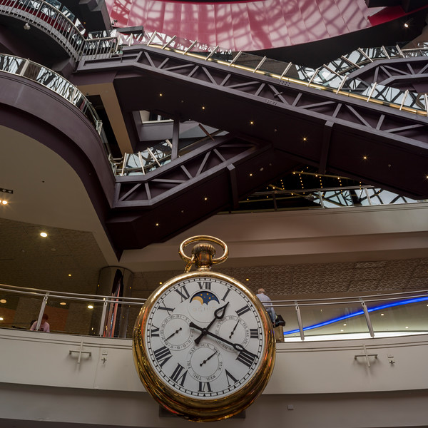 Low angle view of wall clock at Melbourne Central Station, Melbourne, State Of Victoria, Australia