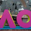 Sculpture outside tennis stadium, Australian Open 2019, Melbourne, State Of Victoria, Australia