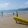 Lifeguard sign on the beach, Four Mile Beach, Port Douglas, Far North Queensland, Queensland, Australia