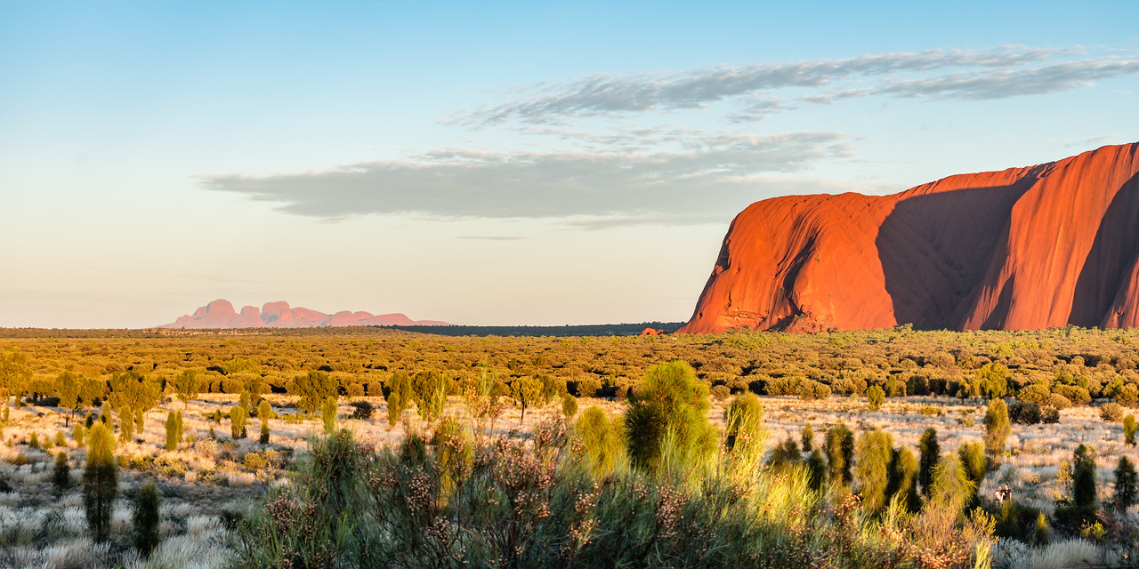 The Olgas and Ayers Rock at sunrise