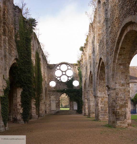 Ruins of a Monastery outside of Paris. Remaining buildings are a hotel.