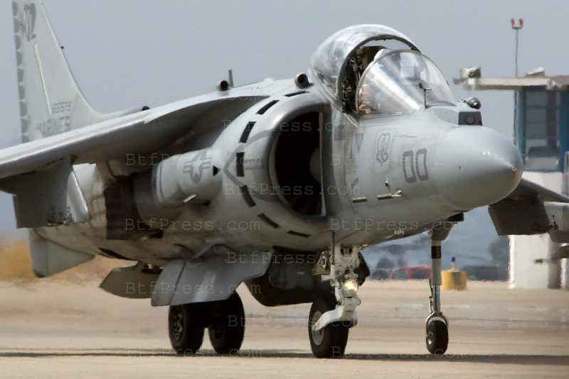 AV-8B Harrier Warplane during Miramar air show in San Diego,California on October 03, 2010.