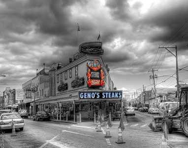 Item# 1121 (GENO'S STEAKS) PHILLY (B&W TINTED)  11x14 copy