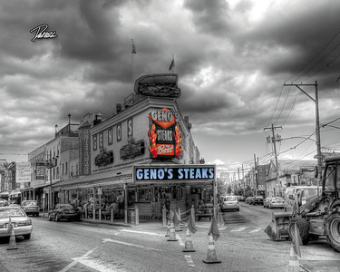 Item# 1121 (GENO'S STEAKS) PHILLY (B&W TINTED)  8X10 copy