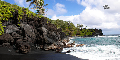 Item# 1196 - Black Beach - Road to Hana- Maui Hawaii 10x20 Print  copy
