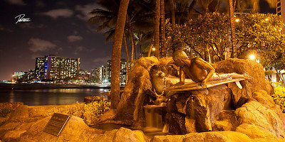 Item# 1195 - Waikiki Night Shot with surfer and seal monument - Hawaii 10x20 Print copy