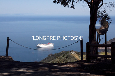 View of cruise ship off Avalon from up high on STAGE ROAD.