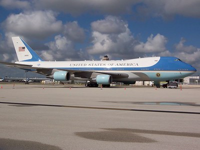 Air Force One at Miami for a campaign visit by President George W. Bush on September 30, 2004.
