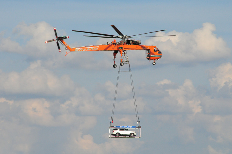 The 2011 Ford Explorer making an entrance with a little help from the Erickson Air-Crane!