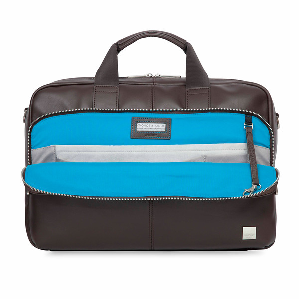 Amesbury Double Zip Leather Briefcase 155-259-BRN