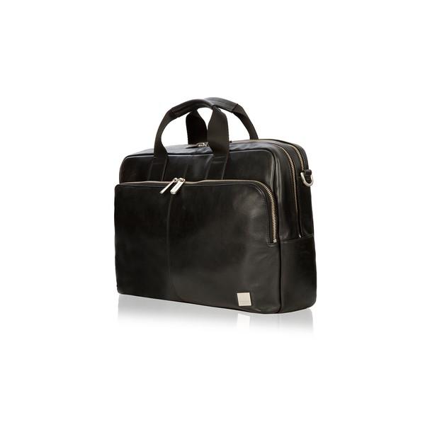 Amesbury Double Zip Leather Briefcase 155-259-BLK