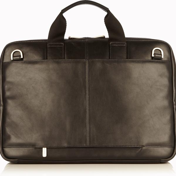 """Newbury Leather Zip Briefcase 15"""" 155-256-BLK"""