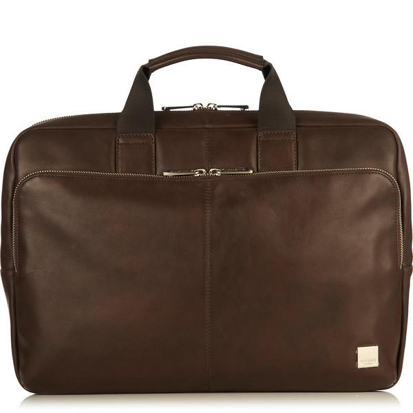 """Newbury Leather Zip Briefcase 15"""" 155-256-BRN"""