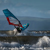 Windsurfing barrel waves.