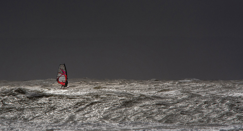 Storm Doris - Lone windsurfer.