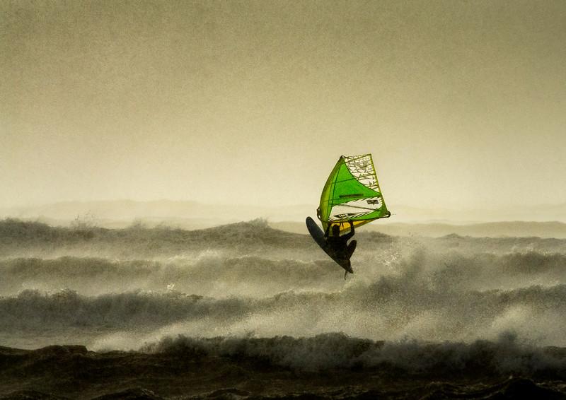 Windsurfing the storm.
