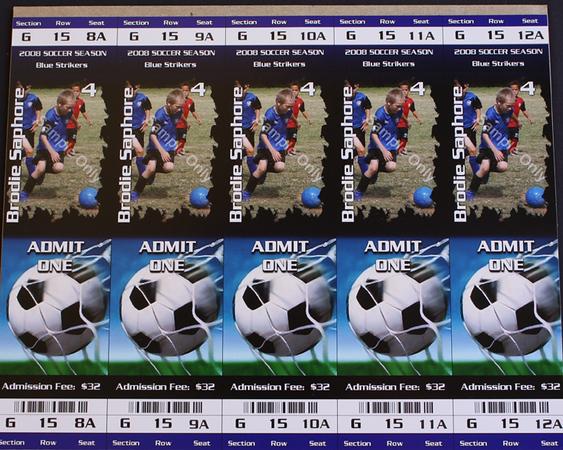 5 GAMEDAY TICKETS w/action shot 8x10 sheet** 2010 season will have Individual still shot printed**