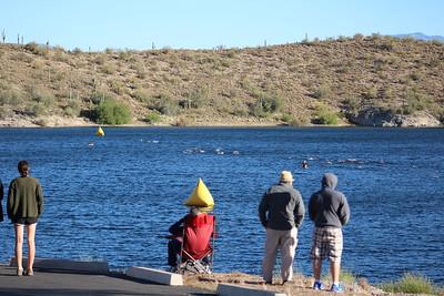 Spectators, swimmers