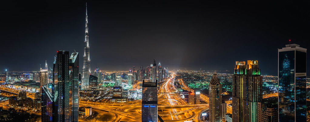 Sheikh Zayed road by night