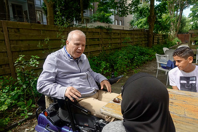 Nederland, Amsterdam, aankomst in mijn Buurt, interview  met Ahmed el Mesri, 27 juni 2017, foto: Katrien Mulder