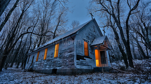 Abandoned Monticello NY Church at Dusk  (13)