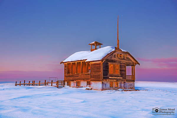"""Silently Waiting,"" Winter Sunset over Center Ridge Schoolhouse,  Wasco County, Oregon"