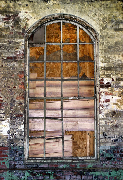 Boarded Up Window of an Abandoned Building - Springhill, Nova Scotia
