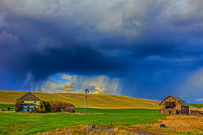 """Squall Window,"" Squall Line over an Abandoned Farm, the Palouse, Washington"