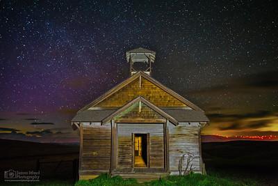 """Colorshift,"" Astronomical Twilight over Douglas Hollow Schoolhouse, Wasco County, Oregon"