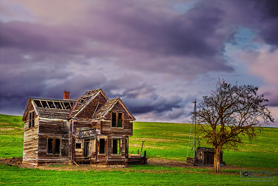 """Visions from the Past,"" Sunset over the Charles E Nelson House, Fairfield Homestead, Wasco County, Oregon"