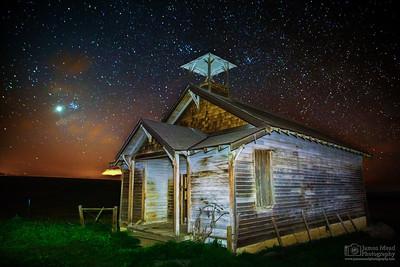 """Venus Schoolhouse,"" Venus Rising over Abandoned Schoolhouse, Oregon"