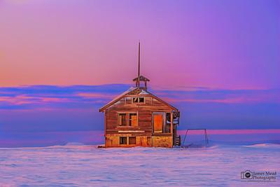 """Frozen in Time,"" Winter Sunset over Center Ridge Schoolhouse,  Wasco County, Oregon"