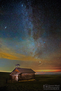 """Abandoned Dreams,"" The Milky Way and Andromeda Galaxy over the Douglas Hollow Schoolhouse, Oregon"