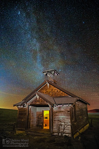 """Erased,"" Starlit Night Over Douglas Hollow Schoolhouse, Oregon"